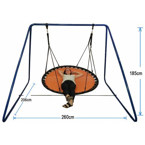 150cm Orange Nest Swing with Blue Swing Set Stand
