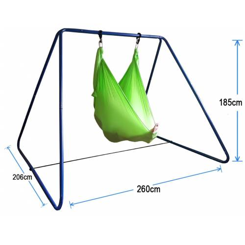 Green Nylon Wrap Swing with Blue Swing Set Stand