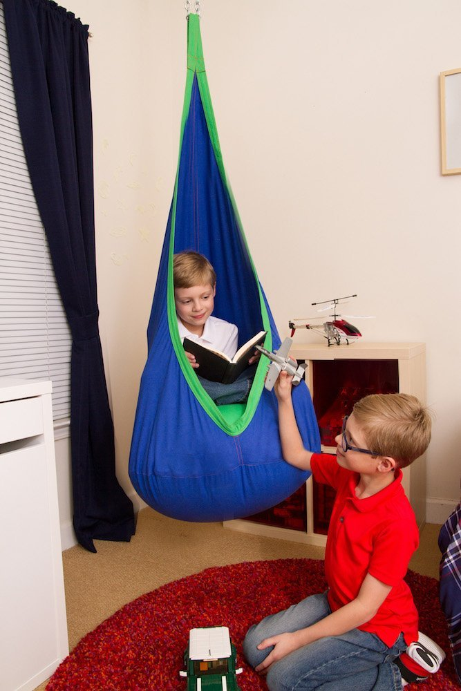 Blue And Green Kids Sensory Swing Pod Chair Heavenly Hammocks