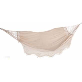 Large Beige Canvas Crochet Hammock with Tassels