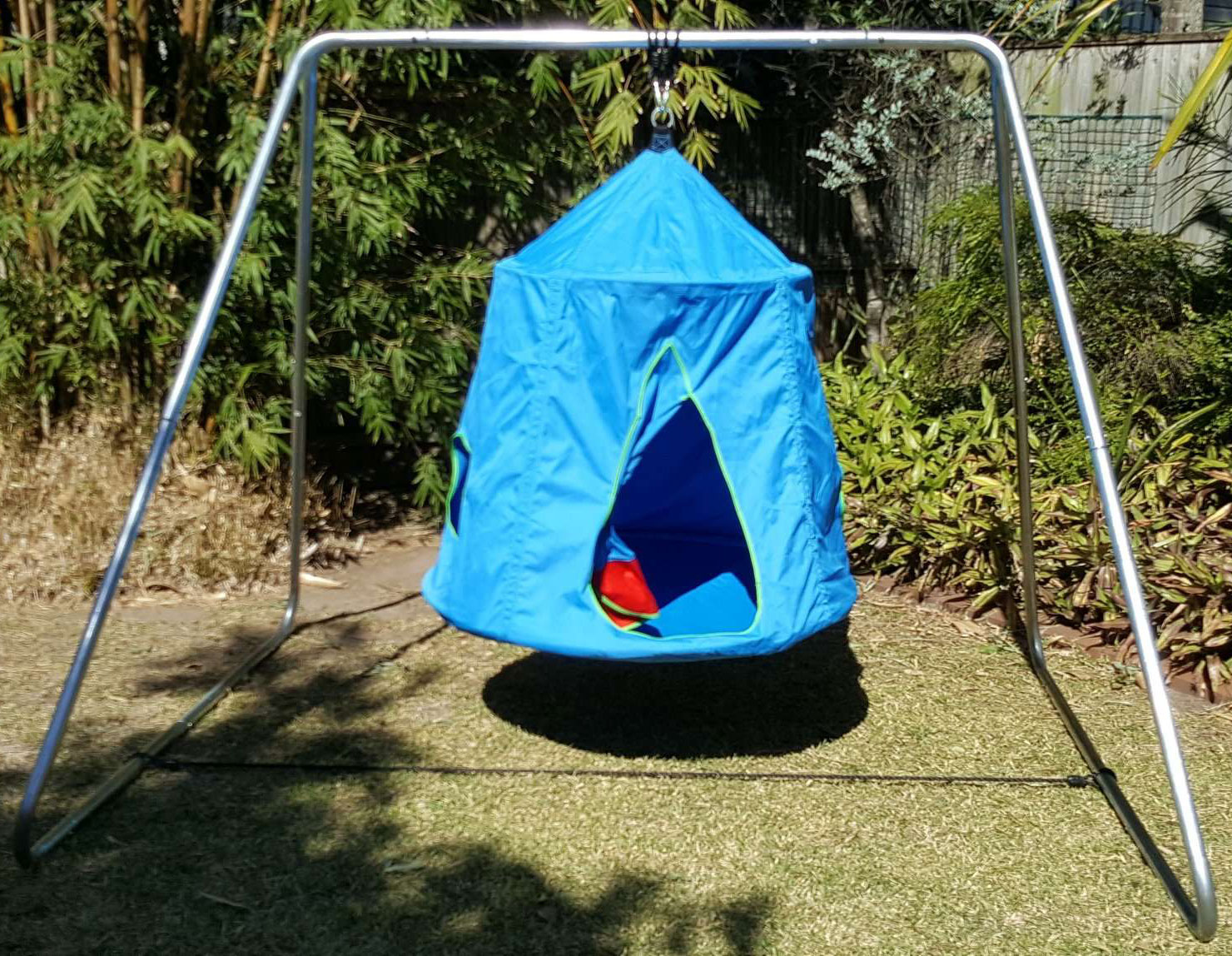 Blue Hangout Hanging Nest With Swing Set Stand Galvanised