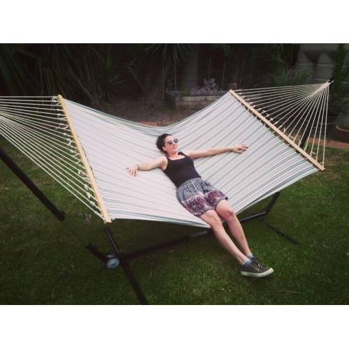 X Free Standing Hammock Blue And White Canvas