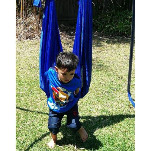 Medium Blue Nylon Wrap Swing With Medium Swing Set Stand
