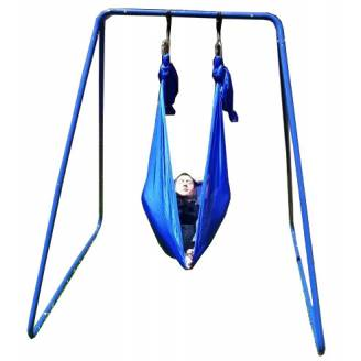 Medium Blue Nylon Wrap Swing with Medium Swing Set Stand