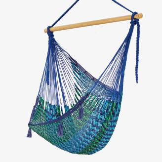 X Large Mexican Hammock Chair: Blue Cotton