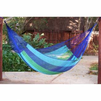 Queen Size Mixed Blues Cotton Mexican Hammock
