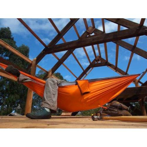Orange and Black Parachute Hammock in House