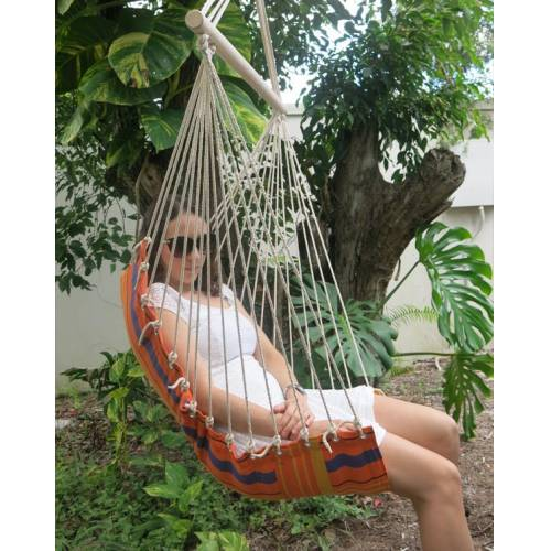 Orange Padded Hammock Chair with Woman
