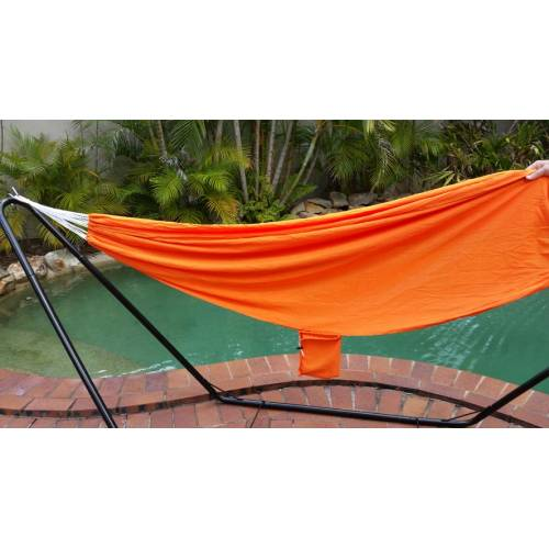 Orange Parachute Hammock by Pool