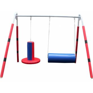 Padded Sensory Swing Stand with Bolster Swing and Flexion Disc