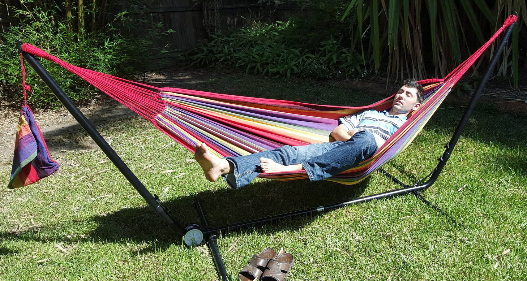 Free Standing Hammock Purple And Red Multi Coloured
