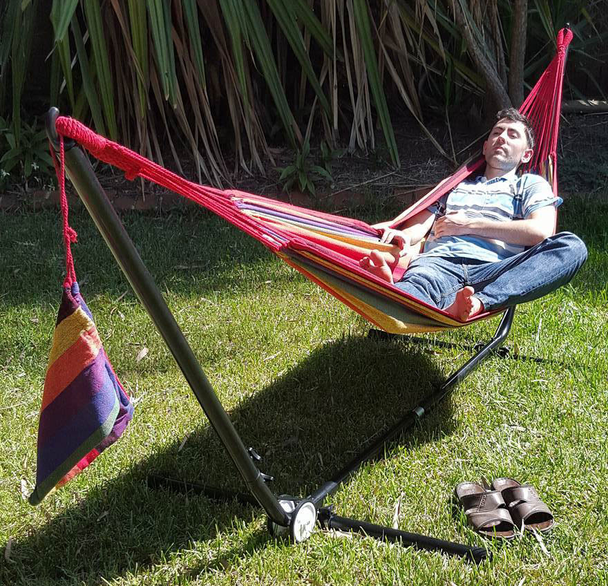 free standing hammock frame walmart canada purple and red coloured canvas with adjustable stand heavenly hammocks