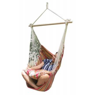 Red Multi Colour Canvas Hammock Chair with Pillows