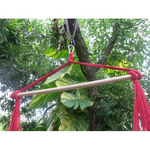 Red and Purple Canvas Hammock Chair Spreader Bar