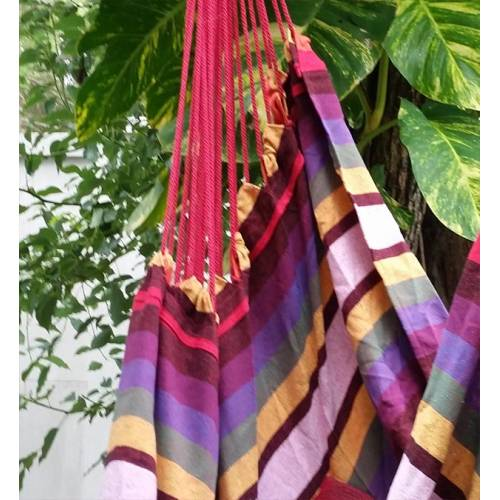 Red and Purple Canvas Hammock Chair Material