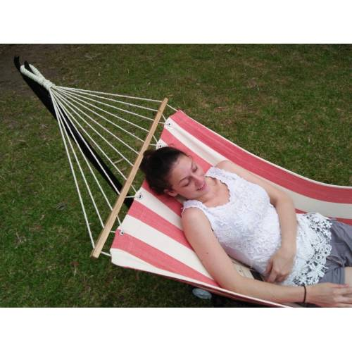 Small Red and White Canvas Hammock with Spreader Bar and Model