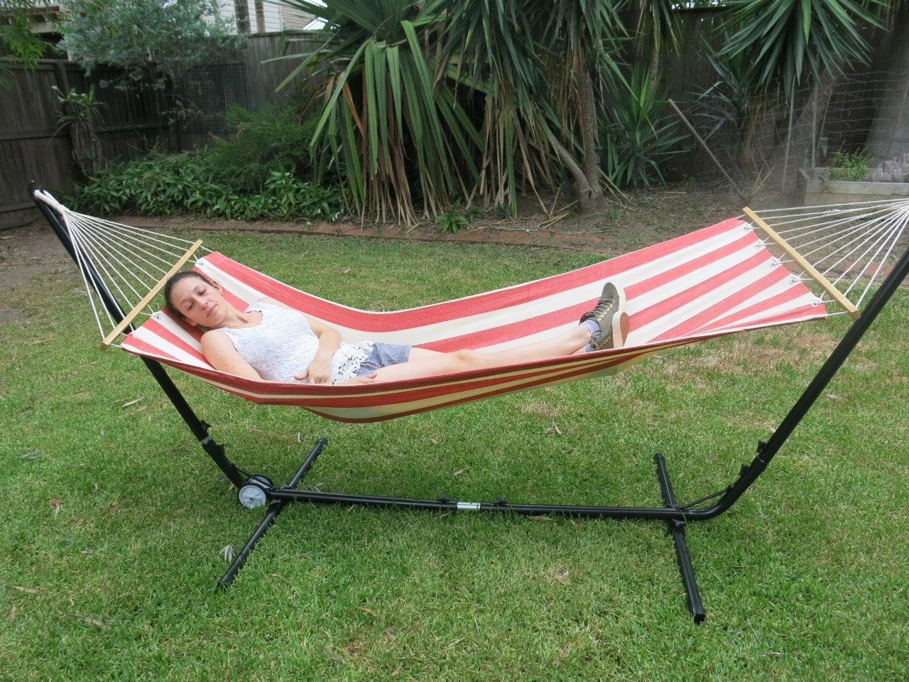Small Red And White Canvas Hammock With Spreader Bar