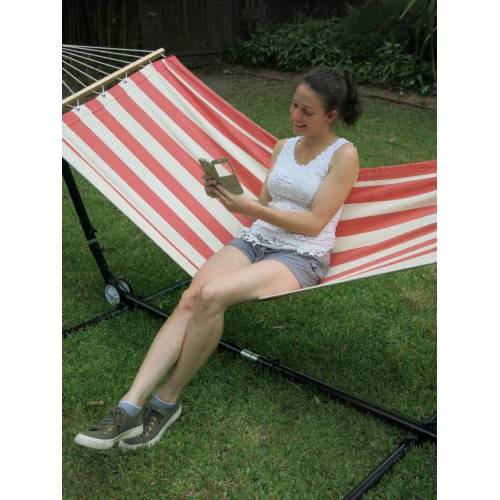 Small Red and White Canvas Hammock with Spreader Bar Selfie