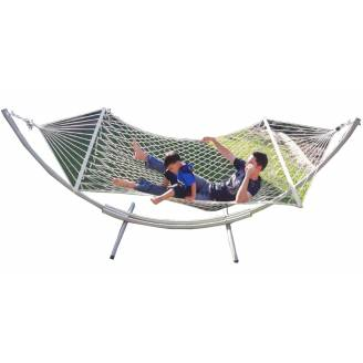 XL Free Standing Hammock: White Rope Hammock and Arc Stand