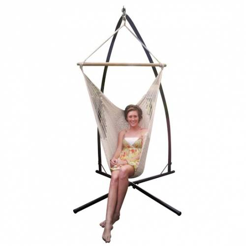 Free standing hammock chair mexican crochet rope hammock chair beige heavenly hammocks