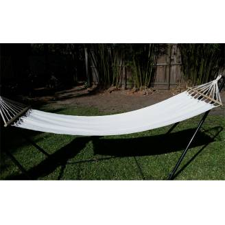 Small White Canvas Hammock with Spreader Bar