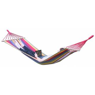 Small Multi Colour Canvas Hammock with Spreader Bar