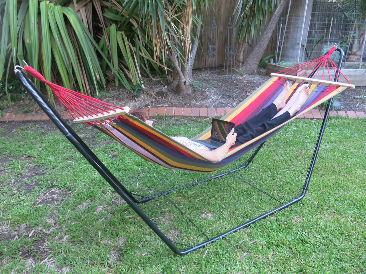 bo set  small multi colour canvas hammock with spreader bar and stand free standing hammock  small multi colour spreader bar canvas      rh   heavenlyhammocks   au