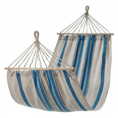 Small White and Blue Canvas Hammock with Spreader Bar