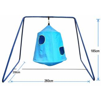 Blue Hangout Hanging Nest with Swing Set Stand
