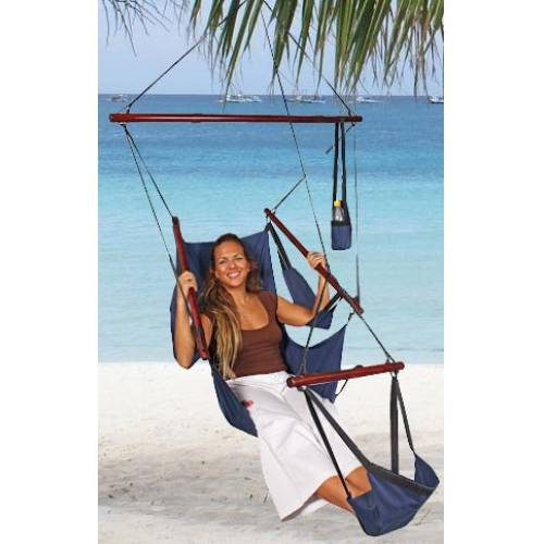 Outdoor Hammock Chair with Foot Rest - Blue