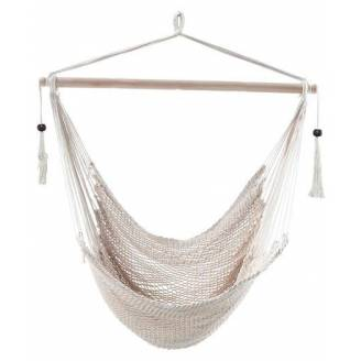 White Cotton Rope Hammock Chair with Tassels
