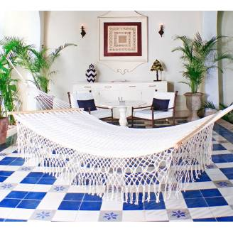 Queen Size White Cotton Mexican Hammock with Spreader Bar