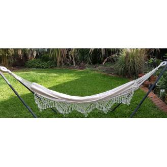 Large White Beige Canvas Hammock with Tassels