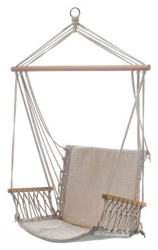 Beautiful White Padded Hammock Chair With Wooden Arm Rests