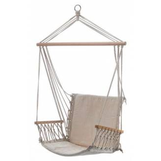 Beige Padded Hammock Chair with Wooden Arm Rests