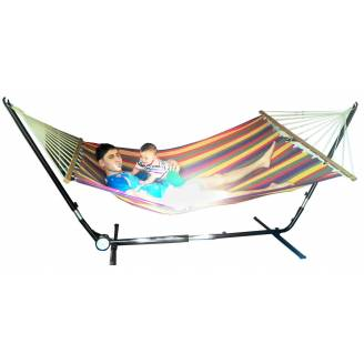 X Large Free Standing Hammock: Bright Multi Coloured Canvas Hammock with Adjustable Stand
